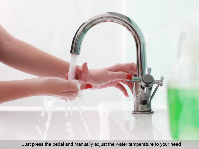 faucets metaefficient controller pedal free foot efficient bathroom controllers faucet hands products handsfree works