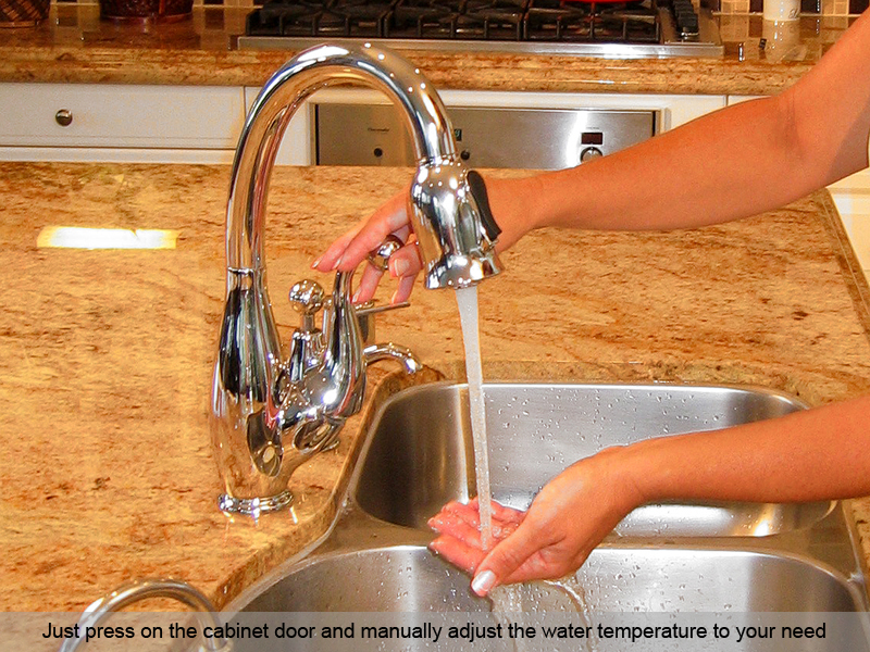 Woman Turning On Faucet Touch Autotap